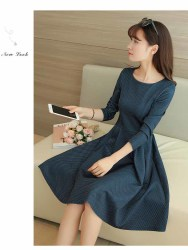 DRESS POLKADOT LENGAN PANJANG IMPORT TRENDY