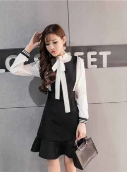 DRESS SIMPLE HITAM PUTIH ONLINE 2017