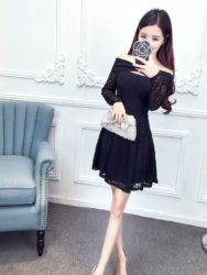 DRESS WANITA KOREA WARNA HITAM SEXY