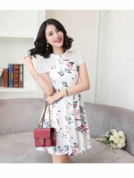 DRESS PESTA MOTIF BUNGA LENGAN PENDEK