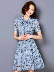 DRESS WARNA BIRU MOTIF ELEGANT TERBARU