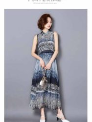 JUAL LONG DRESS WARNA BIRU LENGAN BUNTUNG