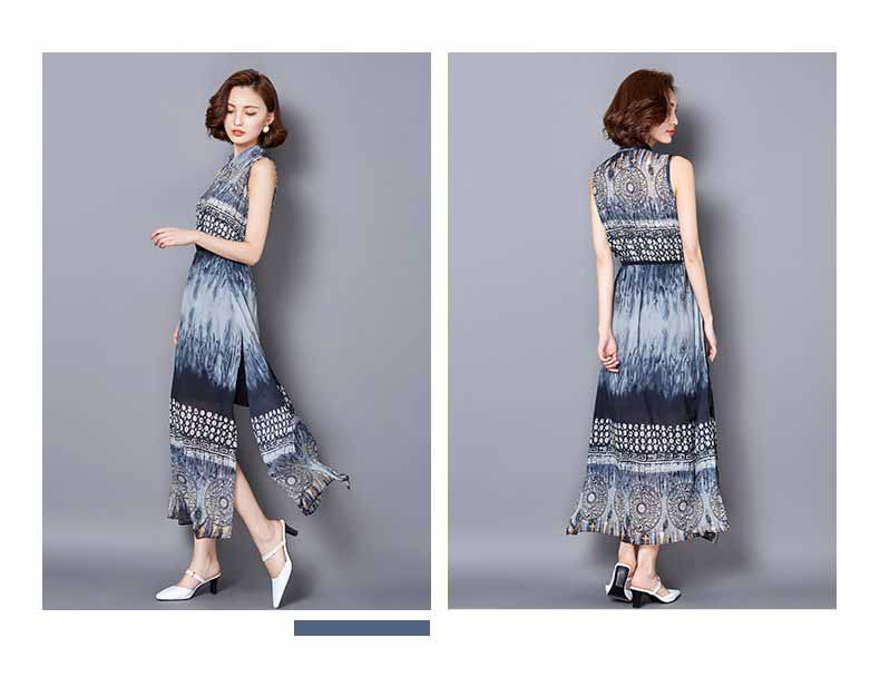 LONG DRESS WARNA BIRU LENGAN BUNTUNG FASHION