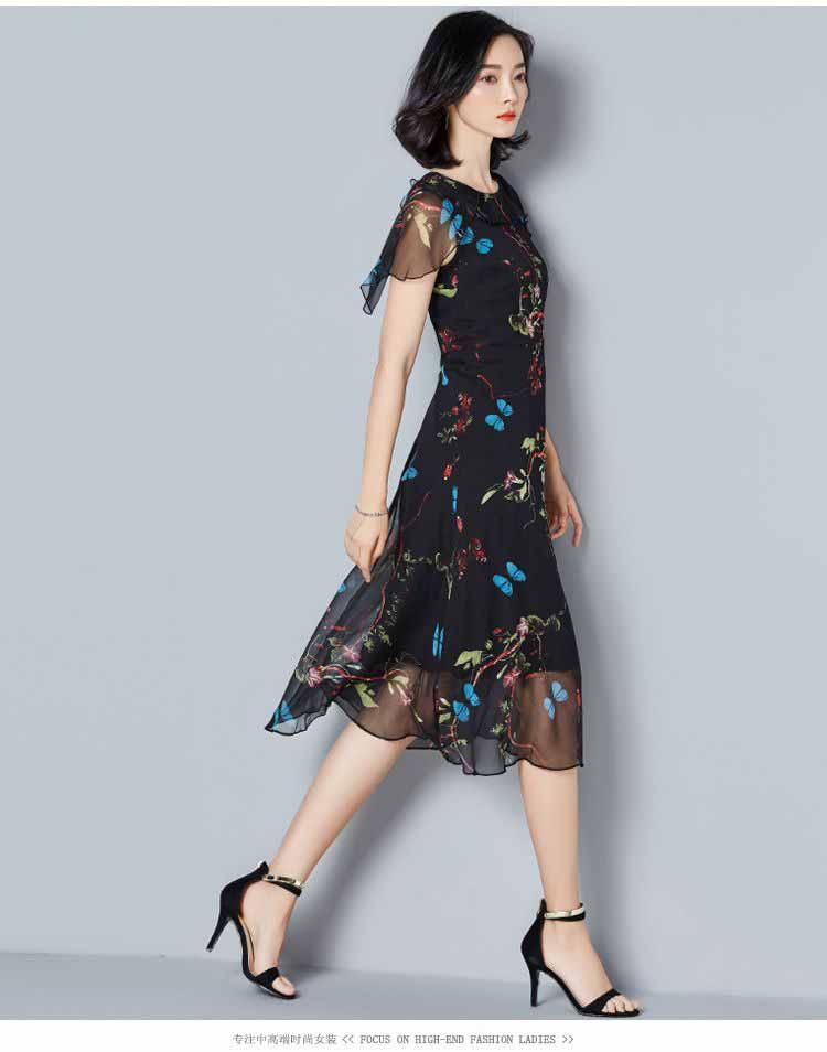 Midi Dress Warna Hitam Motif Cantik Korea Jual Model Terbaru Murah