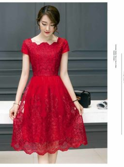 Dress Pesta Brokat Merah Import 2018 Jual Model Terbaru Murah